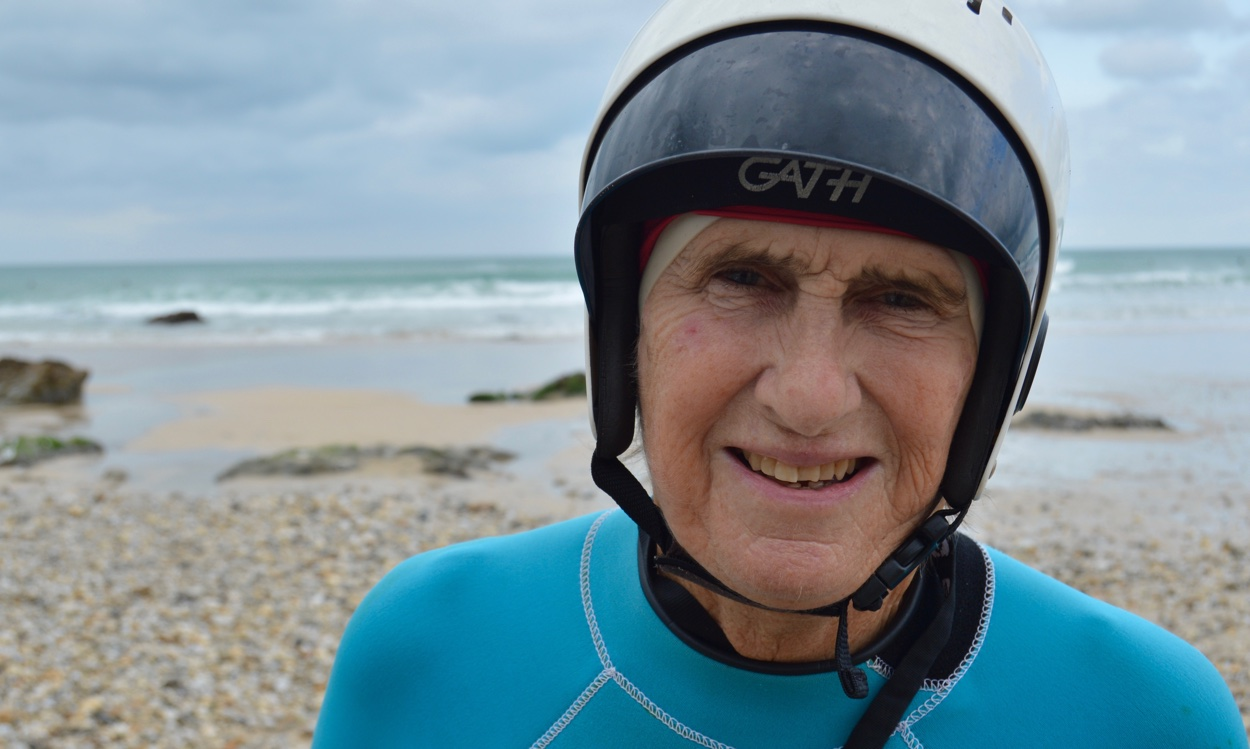 The pensioner's playground: Gwyn Haslock continues to surf into her seventies