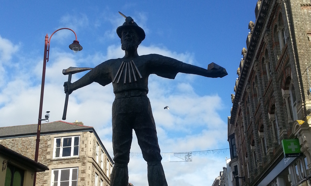 Out of work: The statue of a bronze miner standing defiantly in Redruth