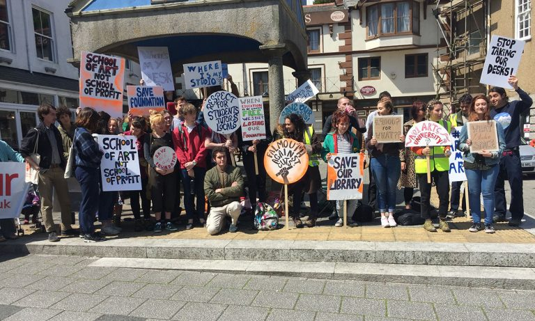Art students protest course cuts at Falmouth University