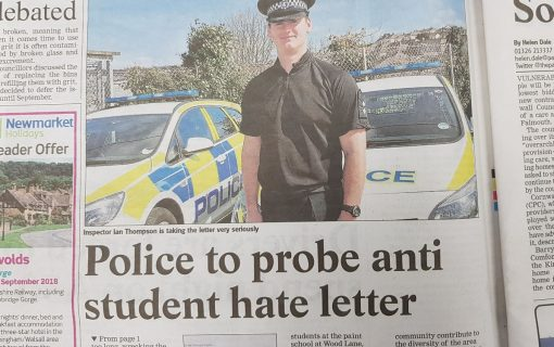 Police investigate 'hate letter' targeting Falmouth students