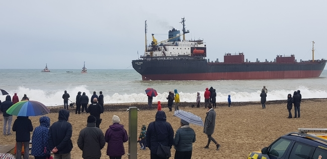 Russian cargo ship grounded on Gyllyngvase Beach in Falmouth