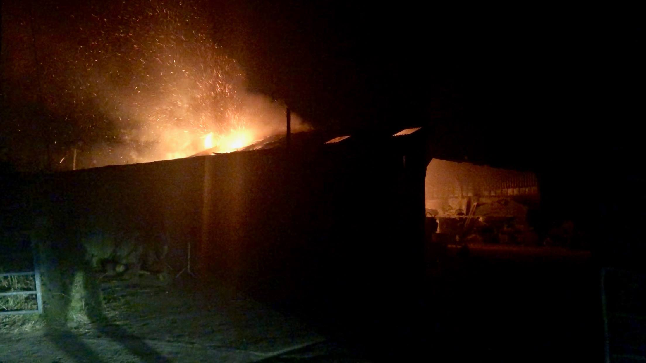 Huge barn fire spotted on outskirts of Falmouth