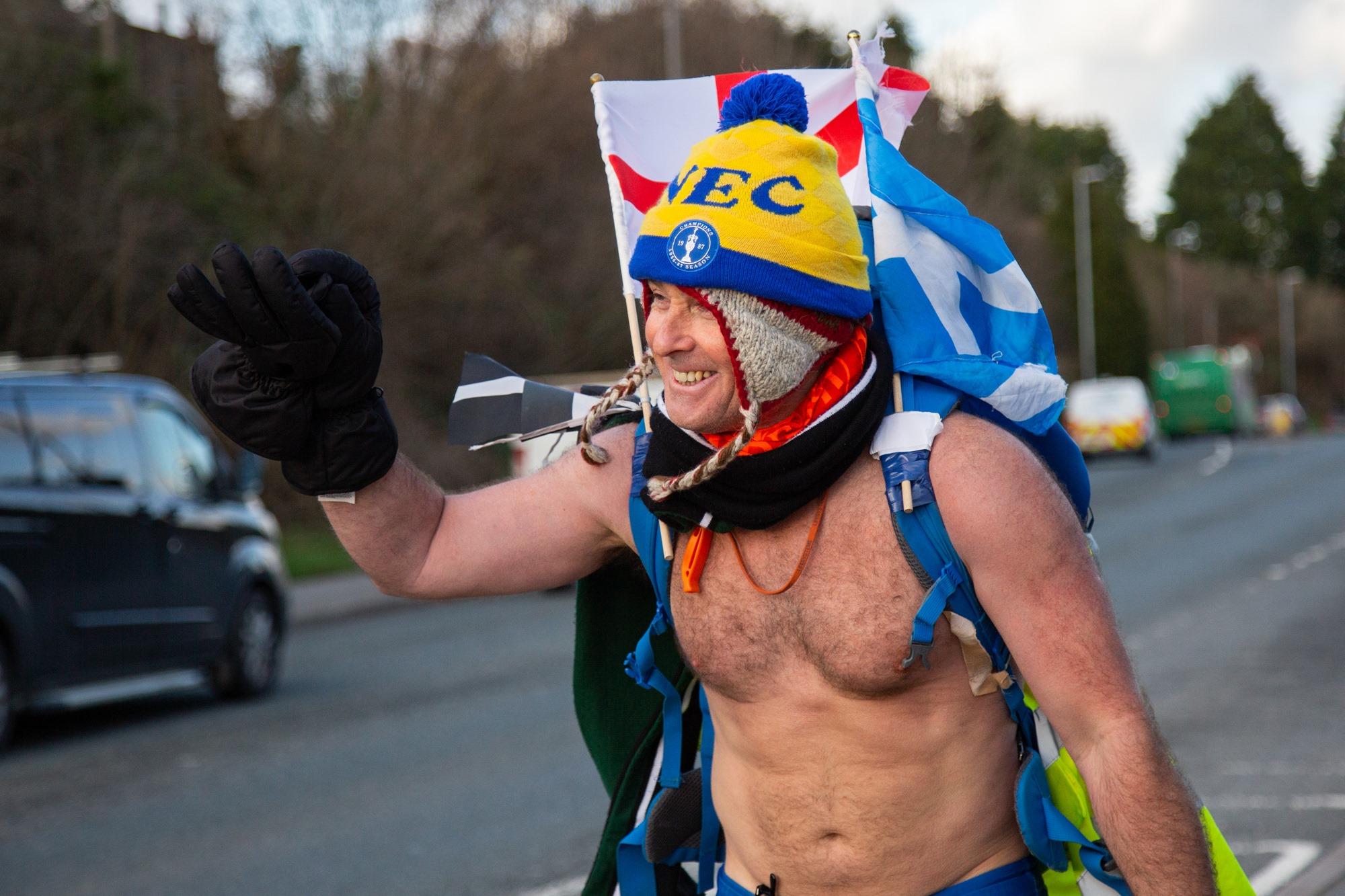 """Speedo Mick"" reaches Truro in the final leg of his charity trek"