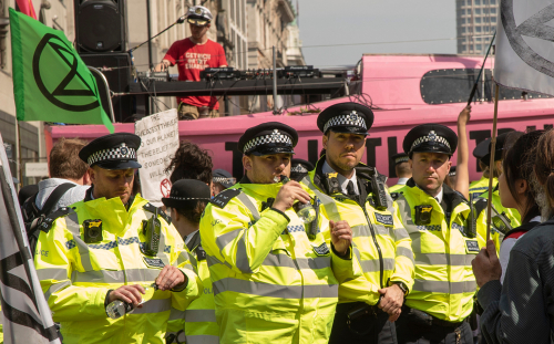 Extinction Rebellion protest against extra police powers