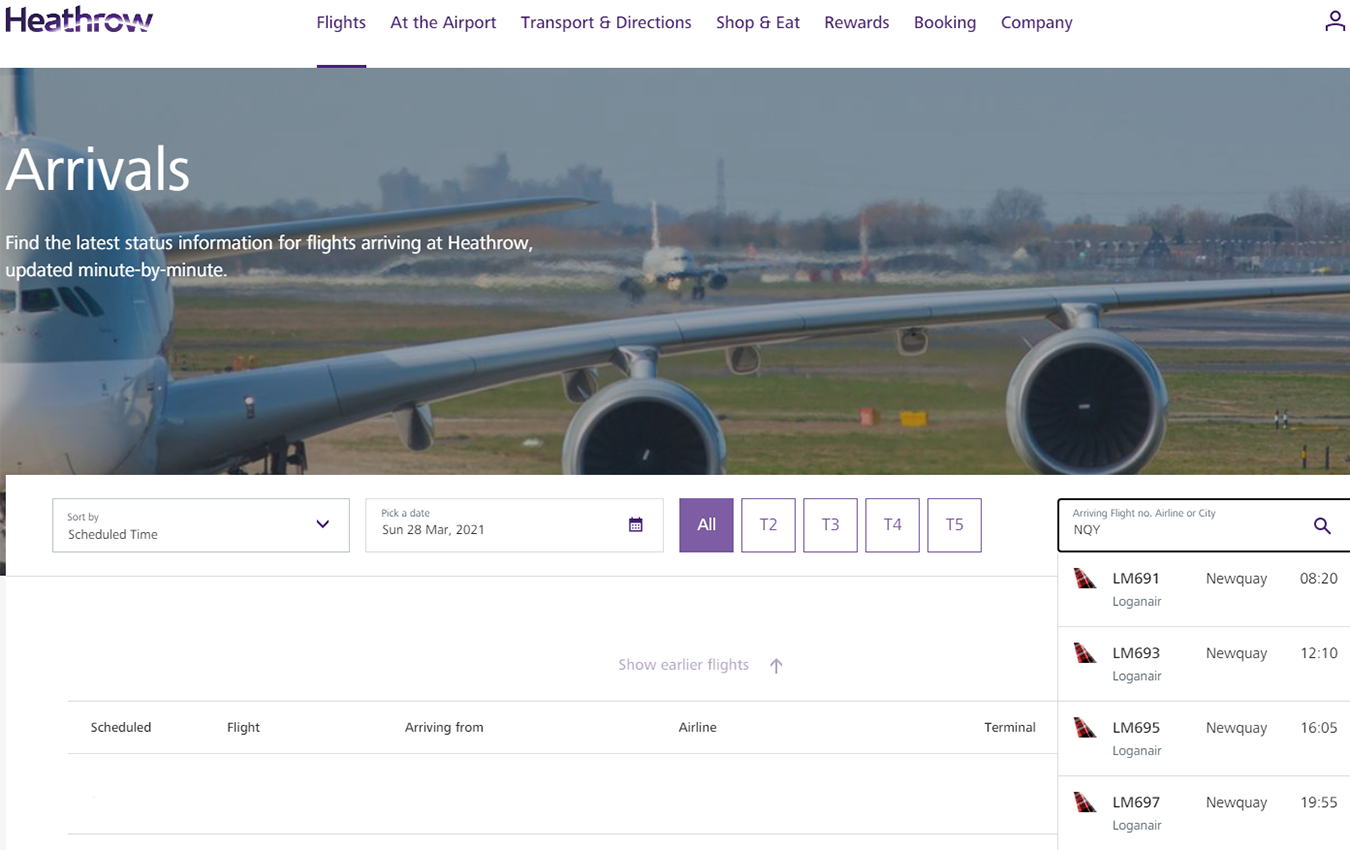 Heathrow Arrivals Website