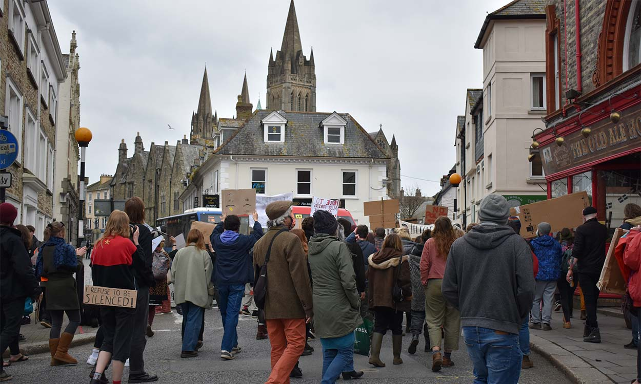 Protest marches through Truro