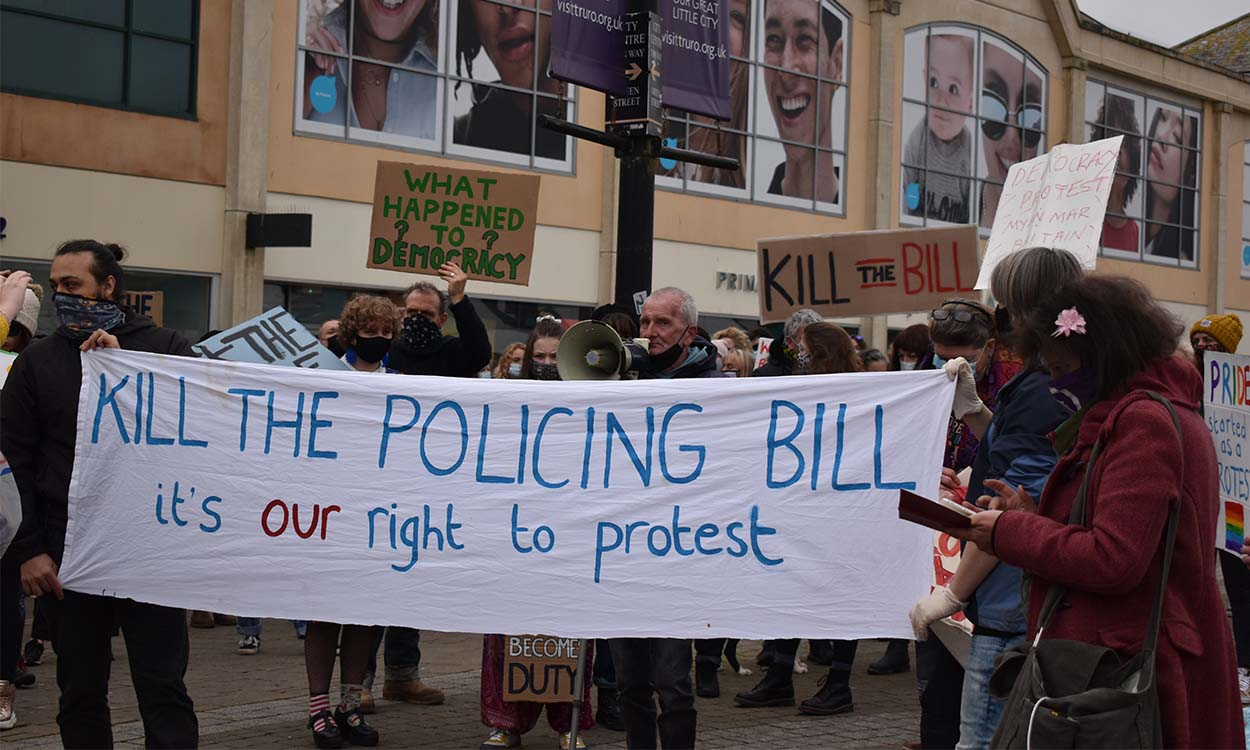 main protest banner