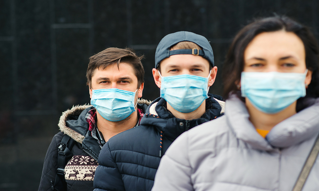 Young people wearing masks.