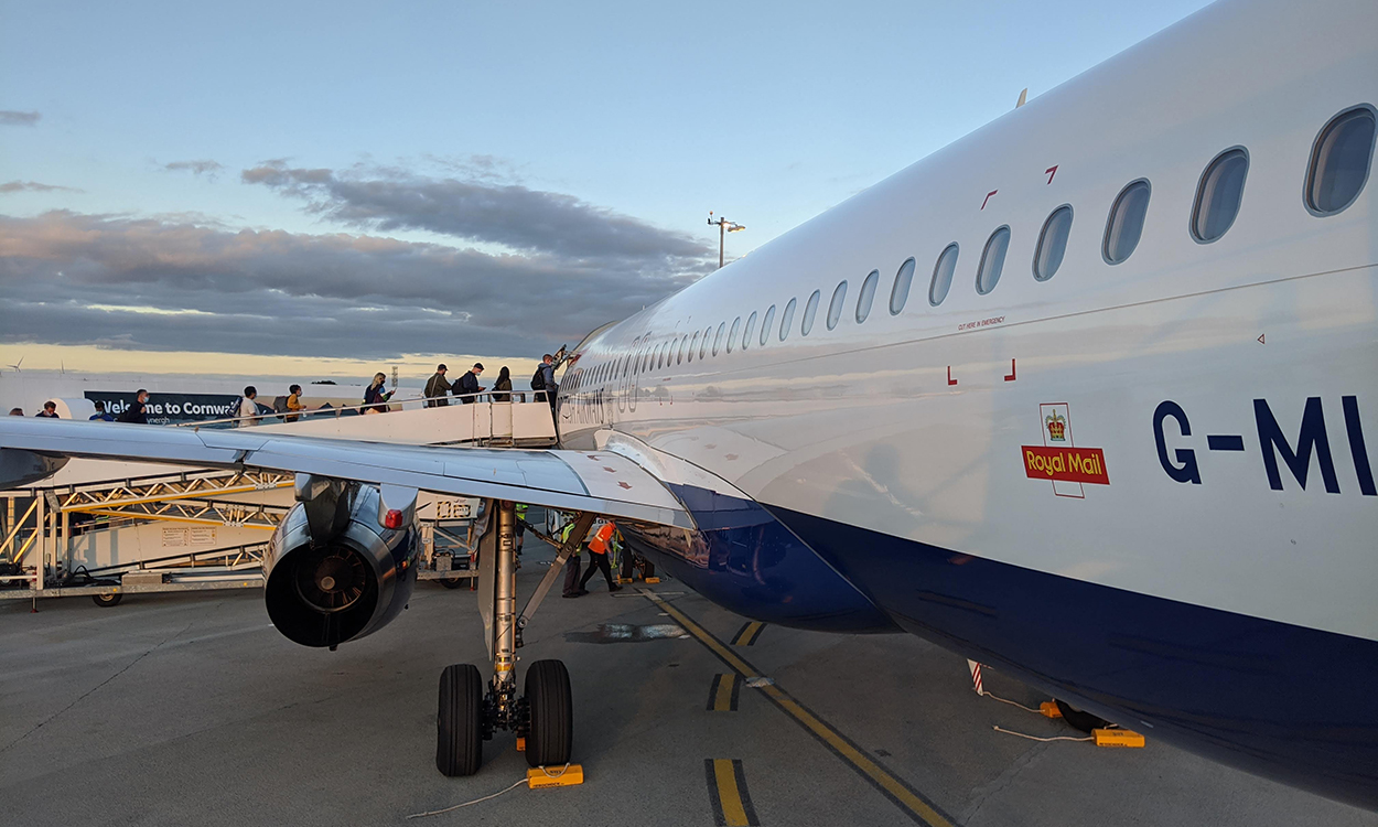 A BA aircraft boarding in Newquay Airport